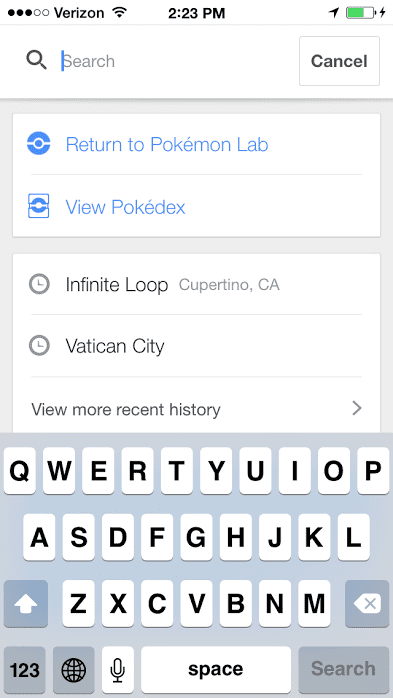 First, open Google Maps, tap the search bar, and press Start next to the Pokémon icon.