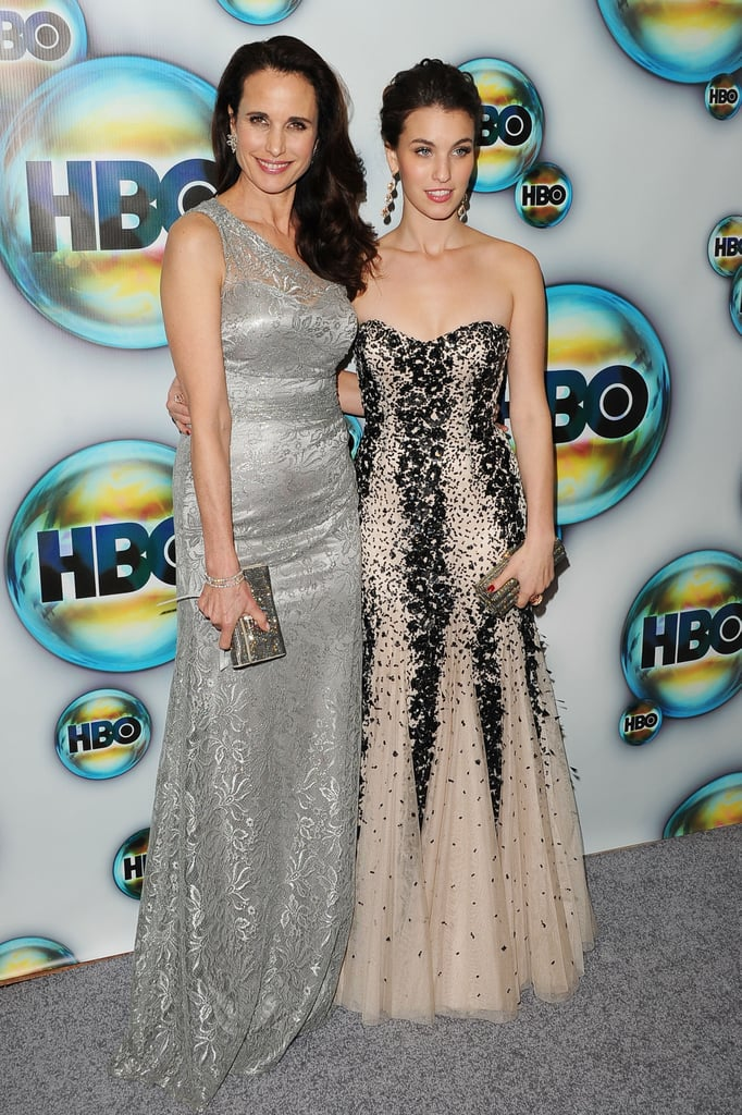 Andie MacDowell and daughter Rainey Qualley arrived at HBO's post-Golden Globes party.