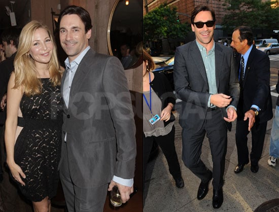 Pictures of The Town's Jon Hamm at a Details Dinner and Doing Interviews in NYC