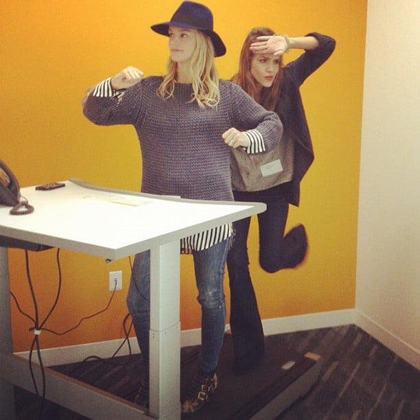 """Jessica Alba and friend Kelly Sawyer goofed around on the """"treadmill desk"""" during a visit to Facebook headquarters.  Source: Instagram user therealjessicaalba"""