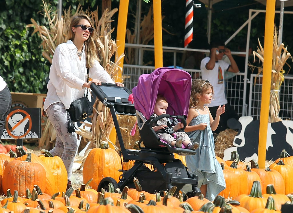 Jessica Alba and her little ones made a stop at a pumpkin patch in LA.