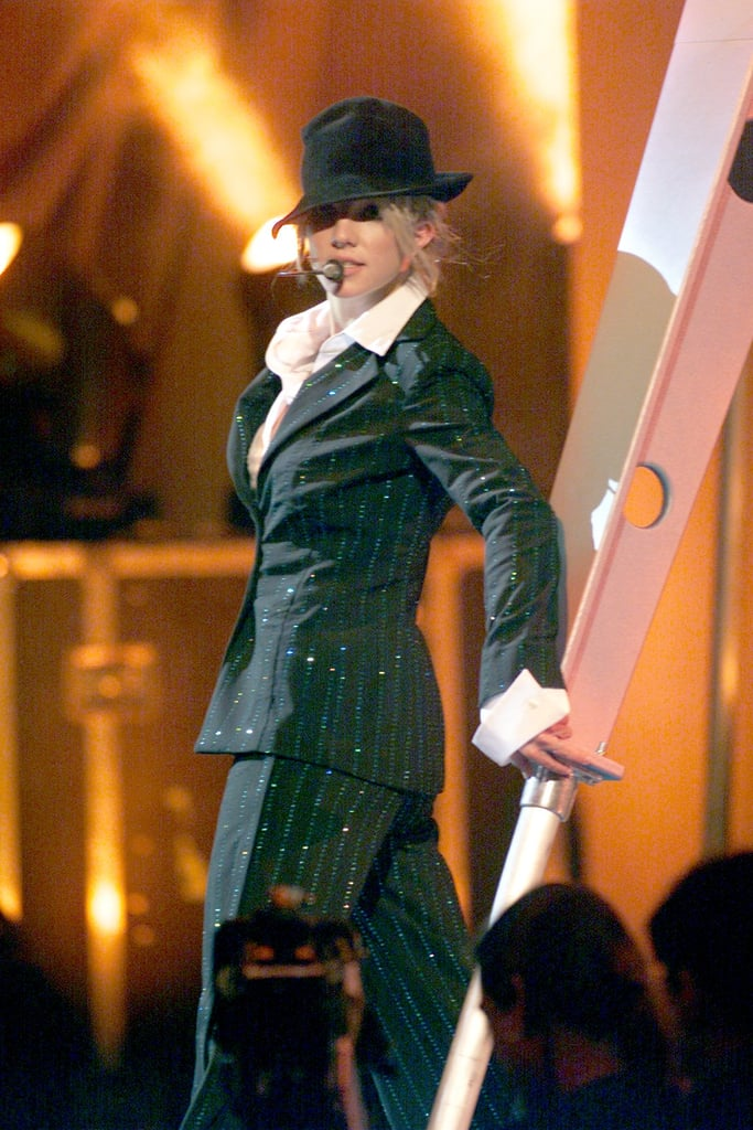 Britney covered up on stage at the MTV Video Music Awards in 2000.