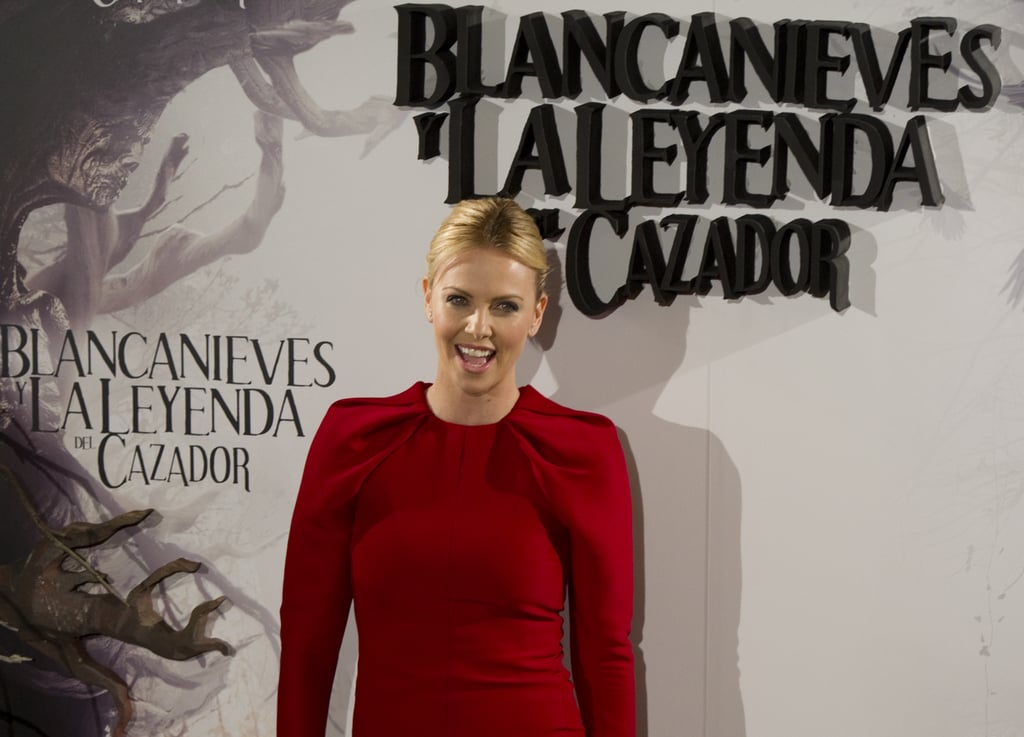 Charlize Theron gave a laugh  at the Snow White and the Huntsman photocall in Madrid.