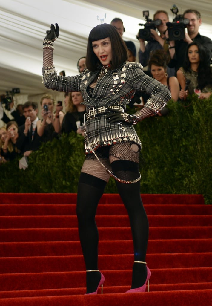 Madonna made a serious statement in a sexy Givenchy Haute Couture by Riccardo Tisci look and demanded everyone's attention by arriving last.