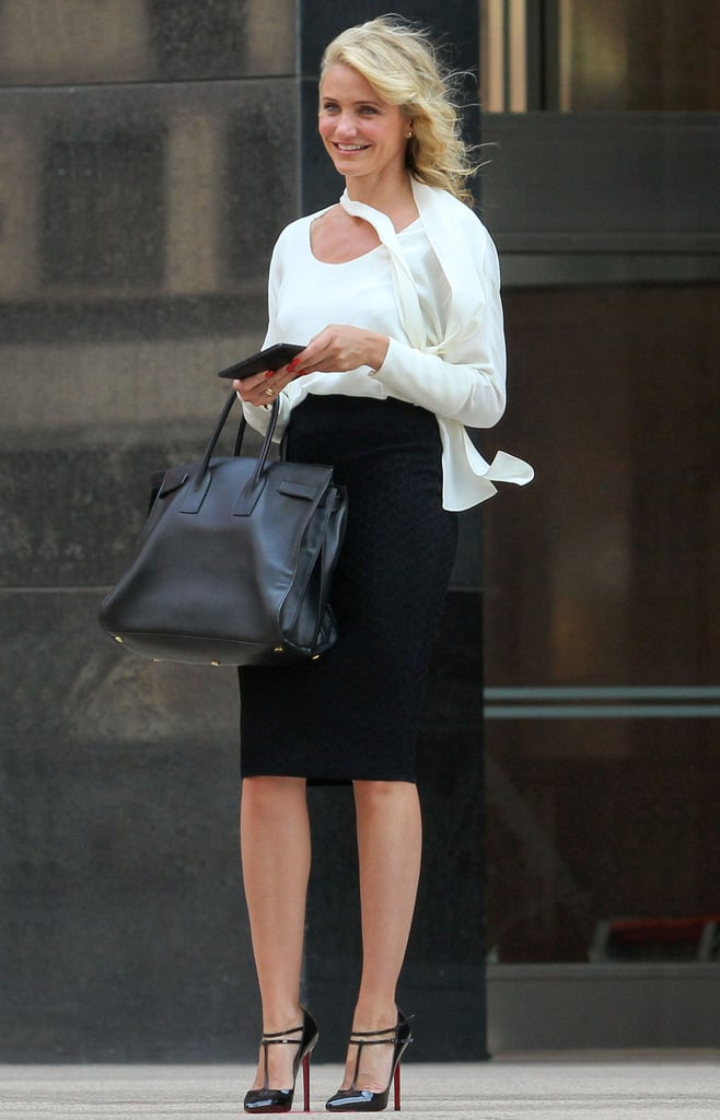 Paired with a polished work-ready outfit, the bag looks like a perfect fit for Cameron's The Other Woman role. Photo courtesy of Saint Laurent