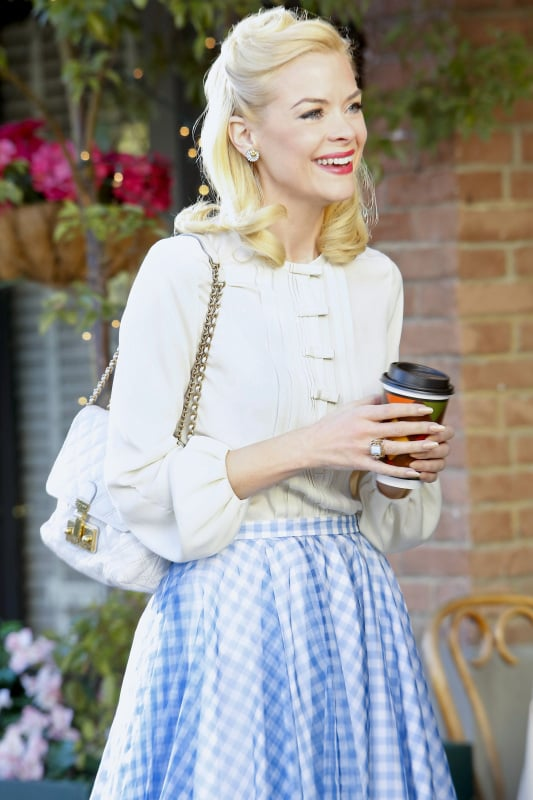 Re-create Lemon's Spring-ready style by pairing her exact DVF blouse ($159, originally $285) and Marc Jacobs bag ($895) with this gingham American Apparel skirt ($38).