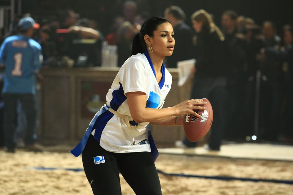 Jordin Sparks prepared to throw the football during the sixth annual Celebrity Beach Bowl Game in 2012.