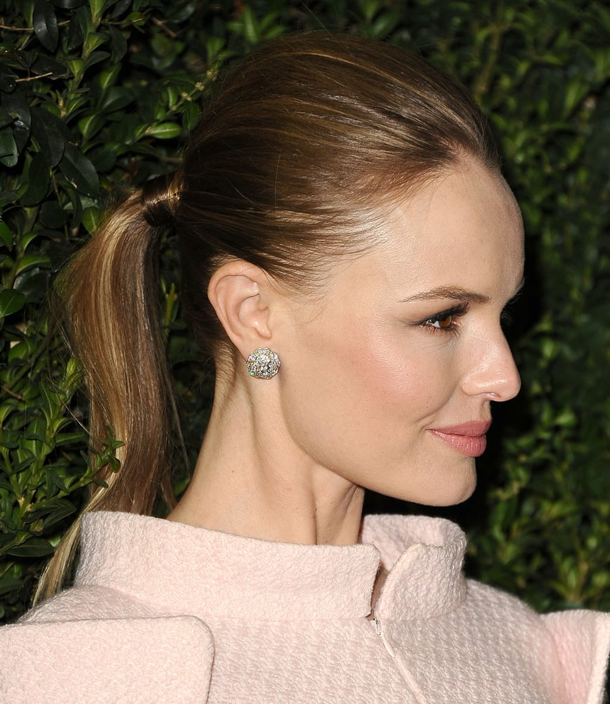 One way to make your average up 'do more formal is to add a piece of hair around the elastic à la Kate Bosworth at Chanel's Pre-Oscar dinner.