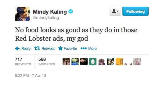 Red Lobster's commercials really get to Mindy Kaling.