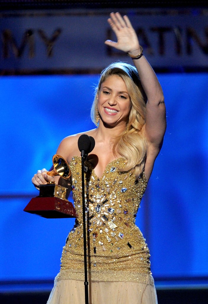 Shakira accepted her Latin Grammy.