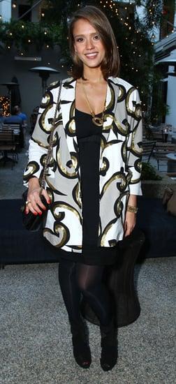 Jessica Alba Wears Swirly White Jacket