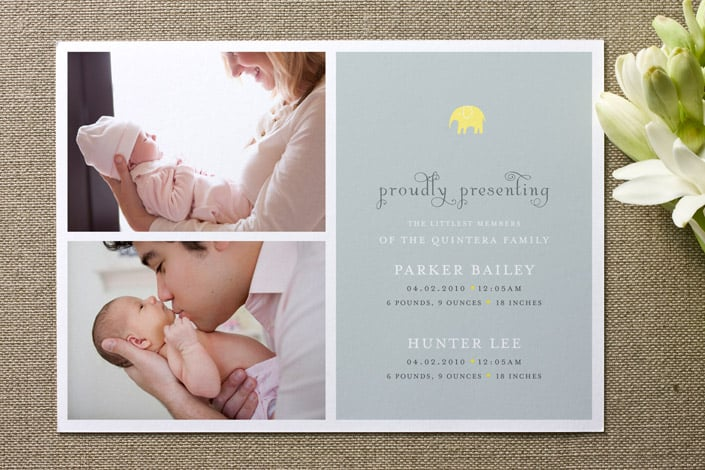 Petite Elephant: Proudly Presenting Birth Announcement