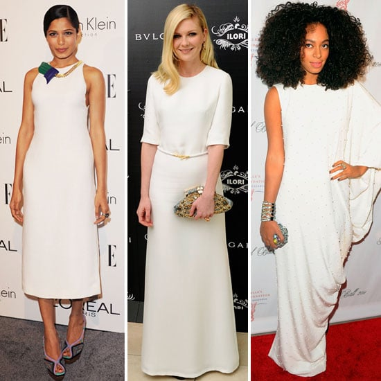 Pictures of Celebrities Wearing White Dresses including Frida Pinto, Kristen Dunst, Solange Knowles. Shop the Red Carpet Trend!