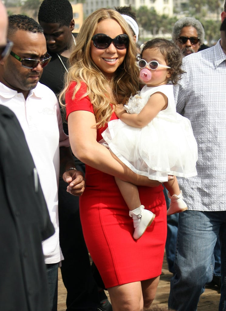 Mariah Carey held onto Monroe Carey during a family day at the Santa Monica Pier.