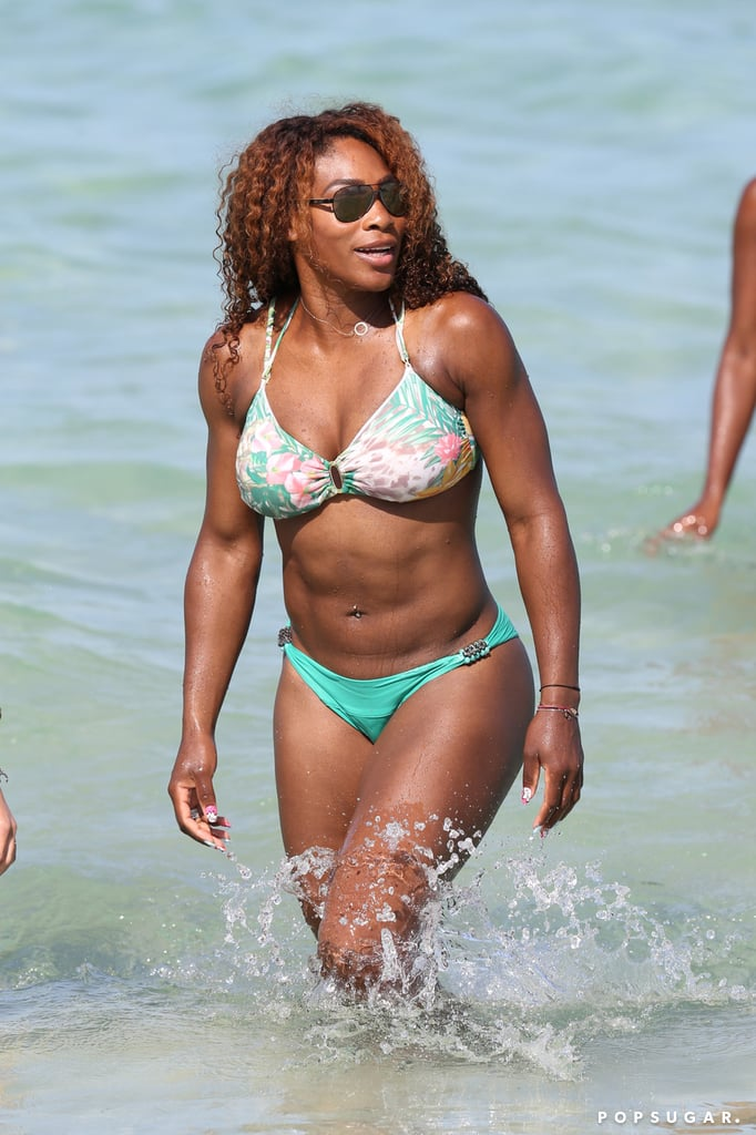 In July, Serena Williams wore a green and floral two-piece during a Miami trip.