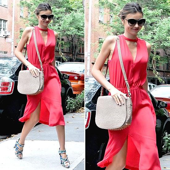 Miranda Kerr Wearing a Red Dress by A.L.C.