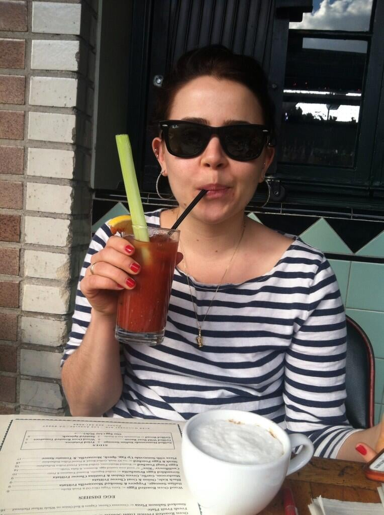 """Parenthood stars Mae Whitman and Miles Heizer (who are also best friends and roommates) went to brunch, where Mae drank """"alcohol soup"""" through a straw. Source: Twitter user milesdheizer"""