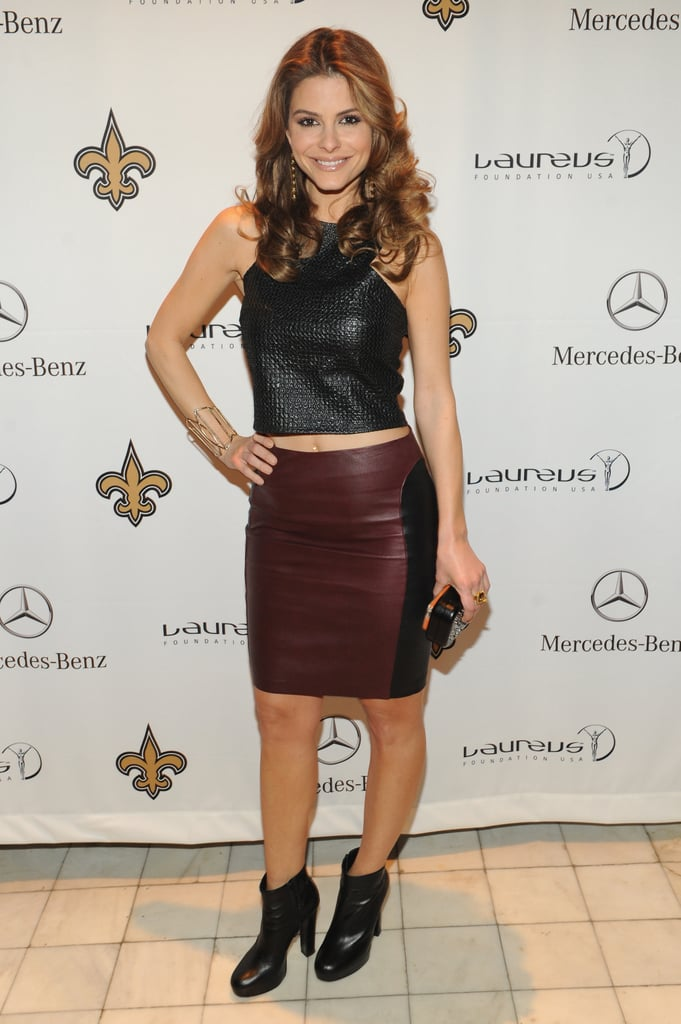 Maria Menounos took on leather with a cropped black top, burgundy-hued skirt, and black ankle boots at the Mercedes-Benz/Laureus event.