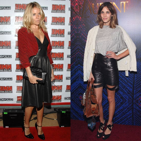 Styling up leather in two totally different ways: Sienna takes a femme approach, while Alexa goes funky-cool.