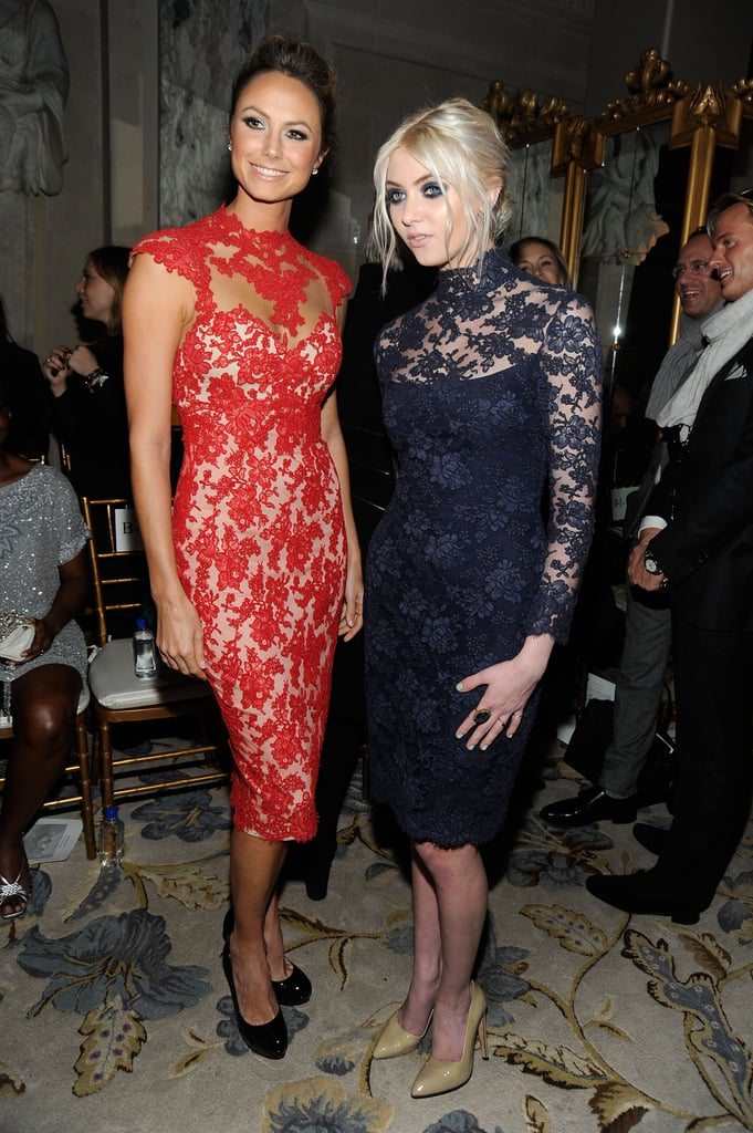 Stacy Keibler and Taylor Momsen checked out the Fall 2012 Marchesa show.