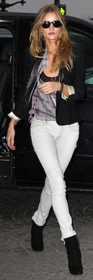 Rosie Huntington-Whiteley in Burberry Jeans and Theyskens Theory Blouse