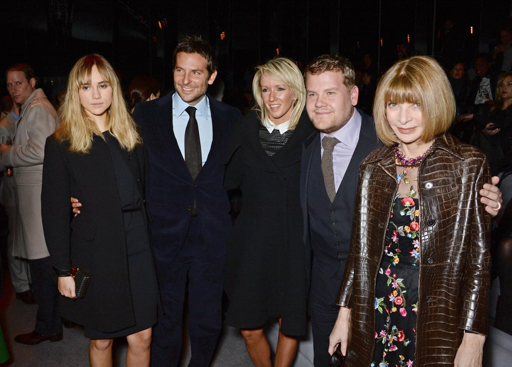 Suki, Bradley, and Anna posed with actors Julia Carey and James Corden.