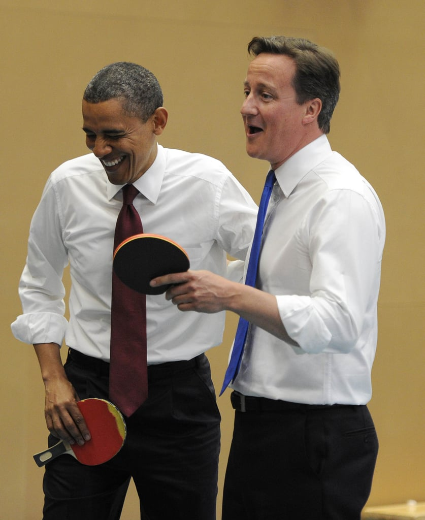 President Obama and British Prime Minister David Cameron had a laugh while playing ping-pong at London's Globe Academy in May 2011.