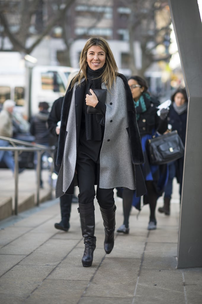 Nina Garcia looked easy — and still polished — arriving at the tents in a gray coat and knee-high boots. Source: Le 21ème   Adam Katz Sinding