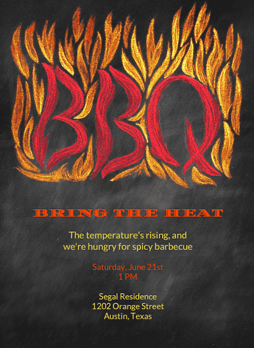 This flaming invite (price upon request) is perfect for guests who can't wait to fire up the grill.