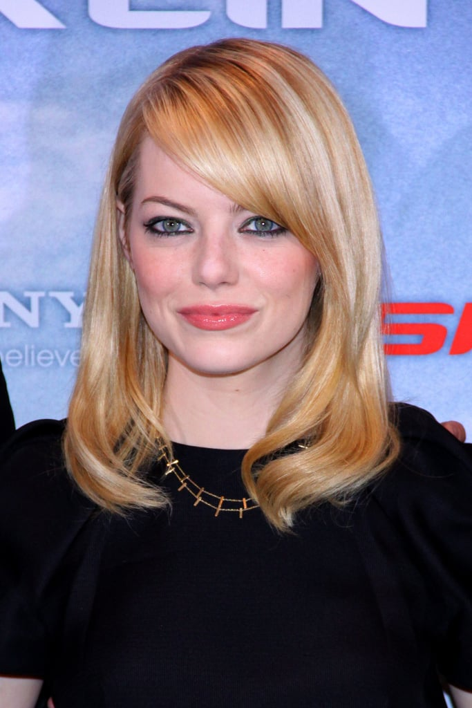 Emma Stone smiled at the Berlin photocall for The Amazing Spider-Man.