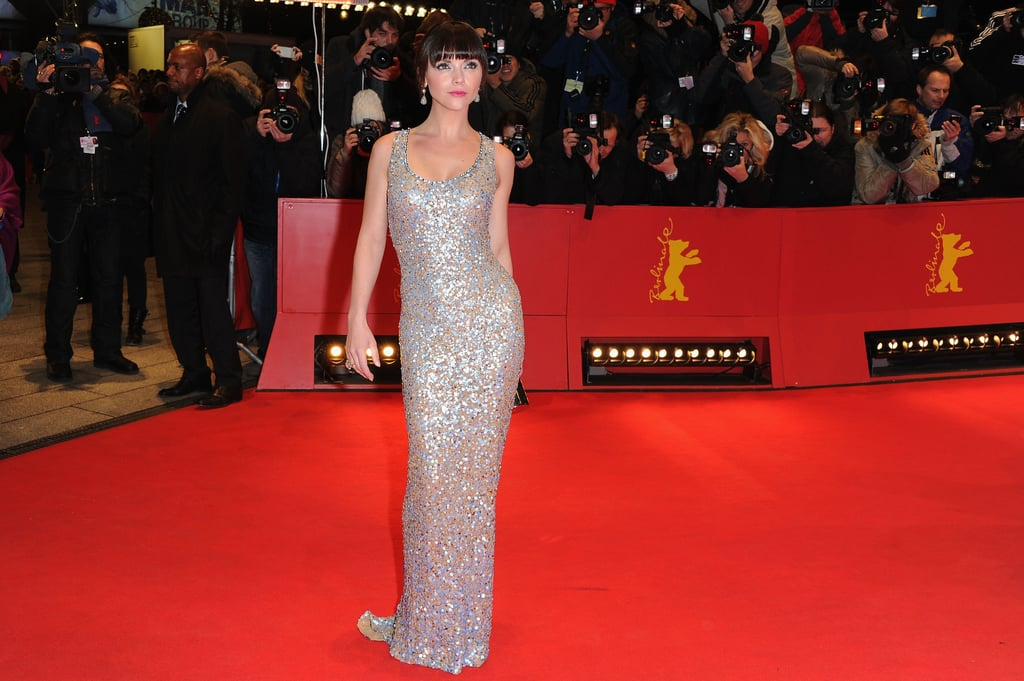 Christina showed off her curves in a sparkly, silver gown.