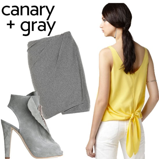 """I also love canary with shades of gray,"" said Roy. We think this classic pairing is perfect for now and later into Fall.  Thakoon Koko Suede Peeptoe Oxford ($239, originally $795), Donna Karan Wrap-effect cashmere-blend skirt ($795), Rachel Rachel Roy Knot Top ($34, originally $64)"