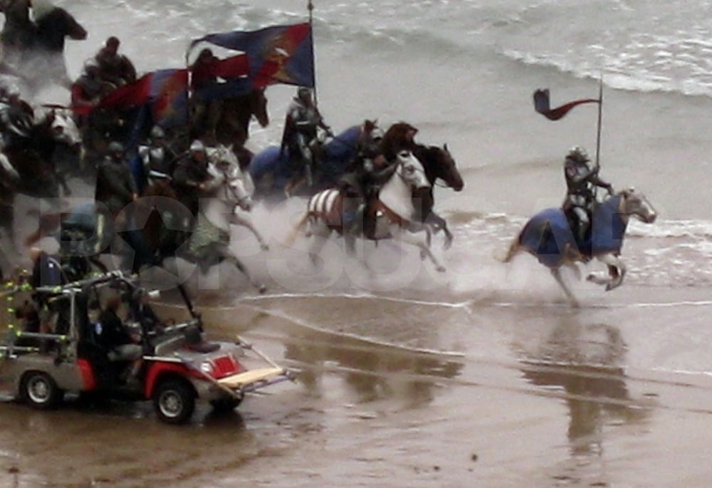 Horses charge for a Snow White and the Huntsman battle scene.