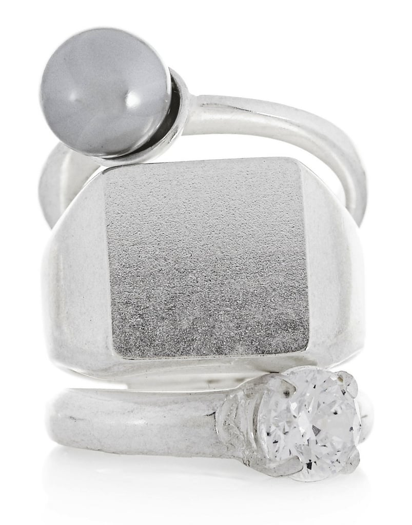 For the nonclassicist, this Maison Martin Margiela silver-toned crystal ring ($380) combines edgier elements with a pretty diamond accent.