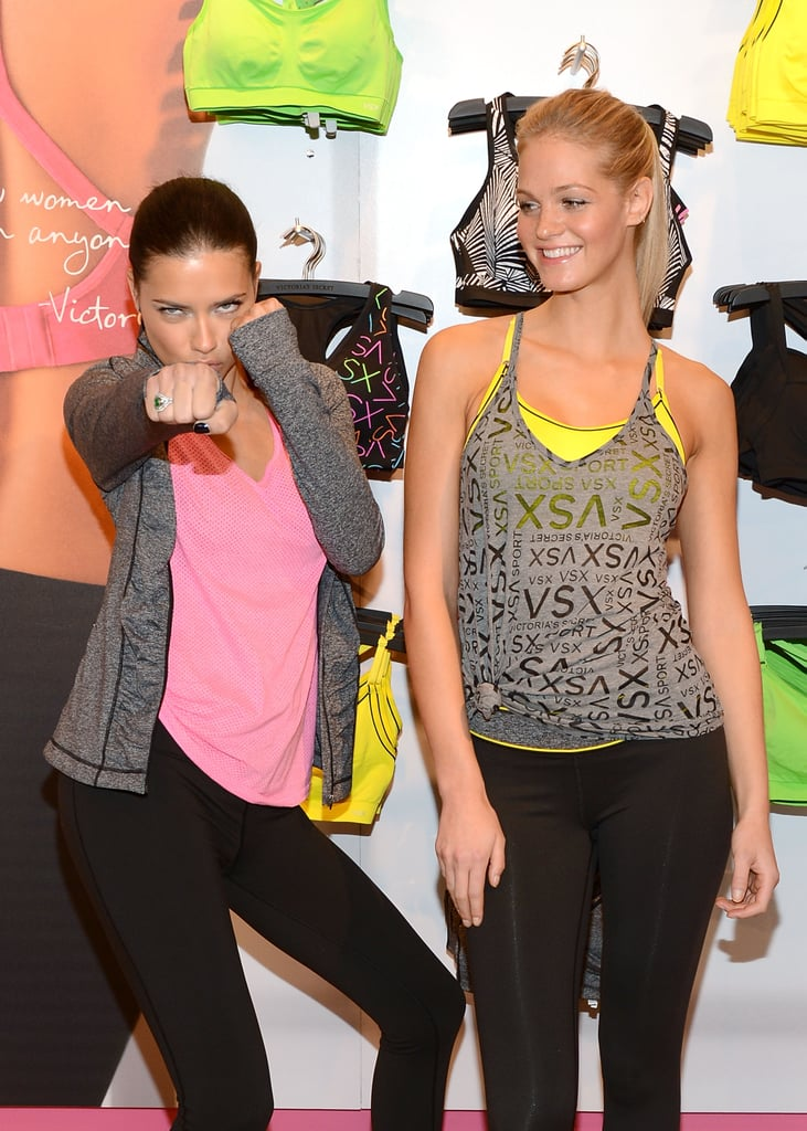 Adriana Lima and Erin Heatherton helped launch the VSX collection at Victoria's Secret in NYC.