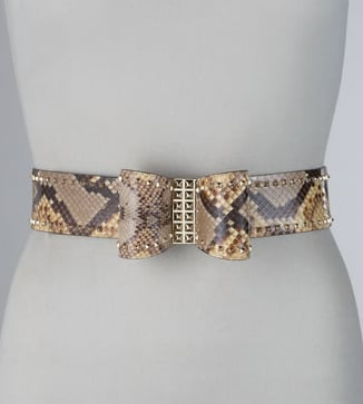 Python print finished with a bow? We can't think of anything more luxurious. Valentino's python bow belt ($1,345) has a steep price tag but imagine all the compliments you'll score with it on your waist.