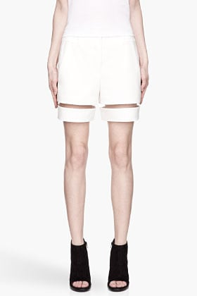 ALEXANDER WANG Ivory white fishline Boy Shorts