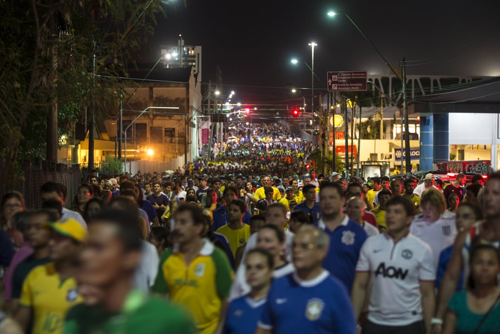 The streets of Manaus, Brazil, were packed with fans as they left the game between England and Italy.