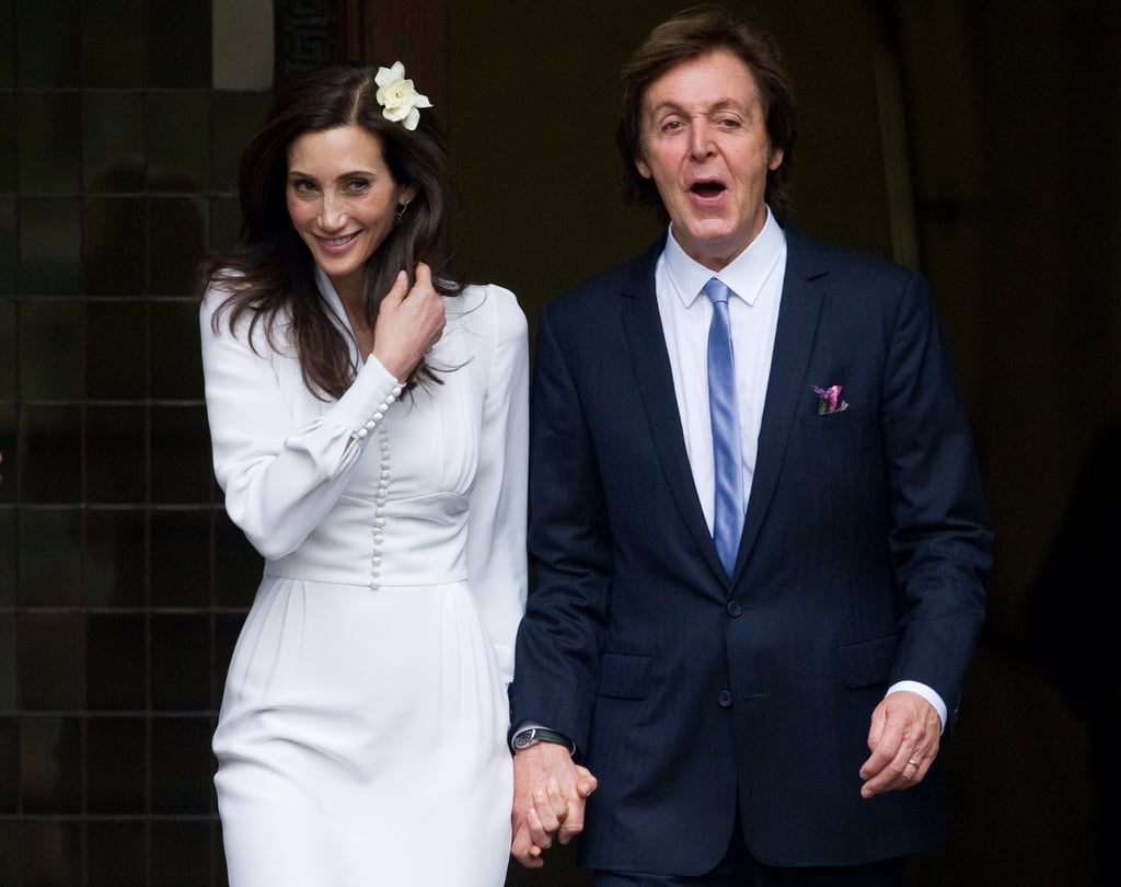 Nancy Shevell and Paul McCartney smiled at their friends and family after being married in London.