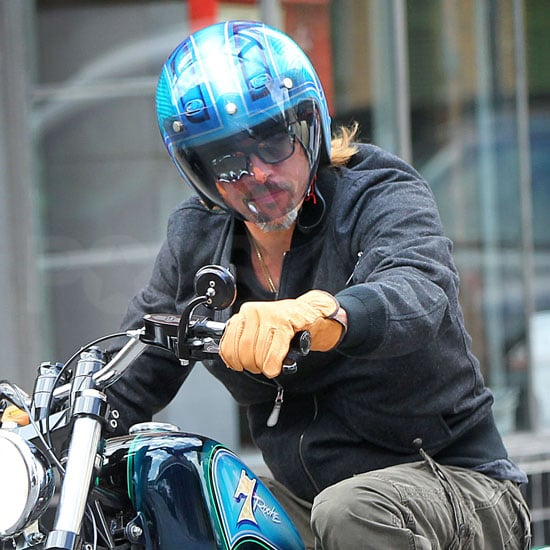 Brad Pitt rode his motorcycle through the French Quarter.