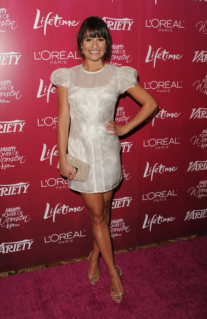 Lea did her trademark pose on the red carpet.