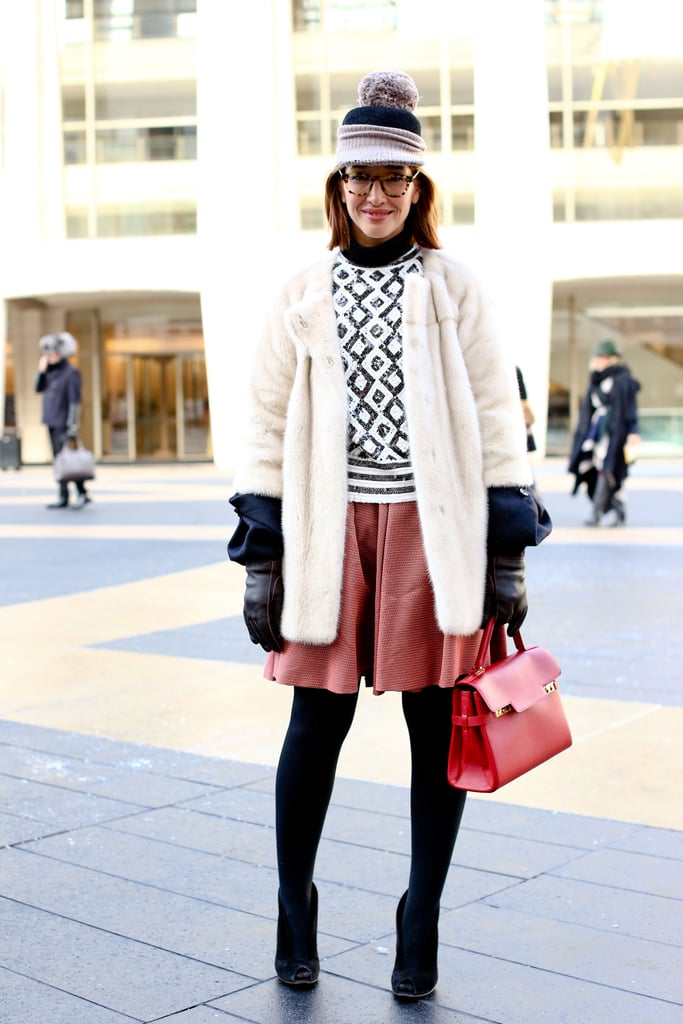 We never met a patterned knit we didn't like, and this one was just the thing to lend a little more dimension to a leather skirt and tights.