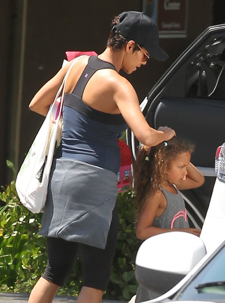 Halle Berry Shows Off Her Baby Bump in Spandex