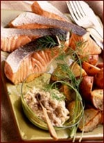 Fast & Easy Dinner: Roasted Salmon & Dilled Potatoes