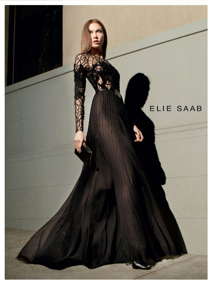 Karlie Kloss takes to the streets in a dramatic black Elie Saab evening gown.