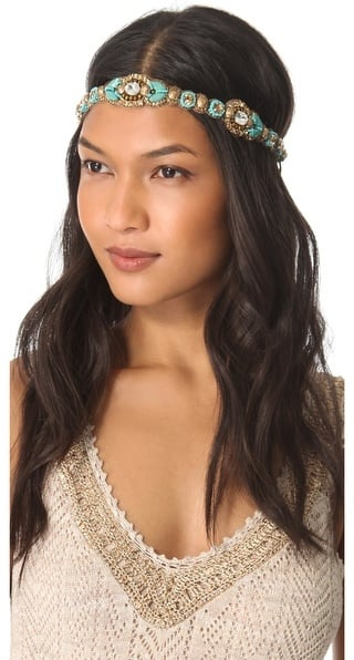 Turquoise is an amazing color on its own, and Deepa Gurnai's Crystal Beaded Headband ($98) gets top marks.