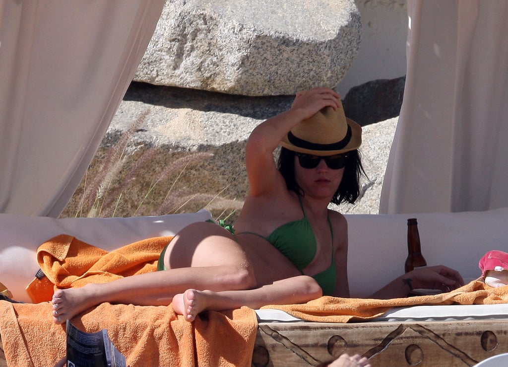 Katy Perry hung out in the shade while vacationing in Mexico in December 2008.