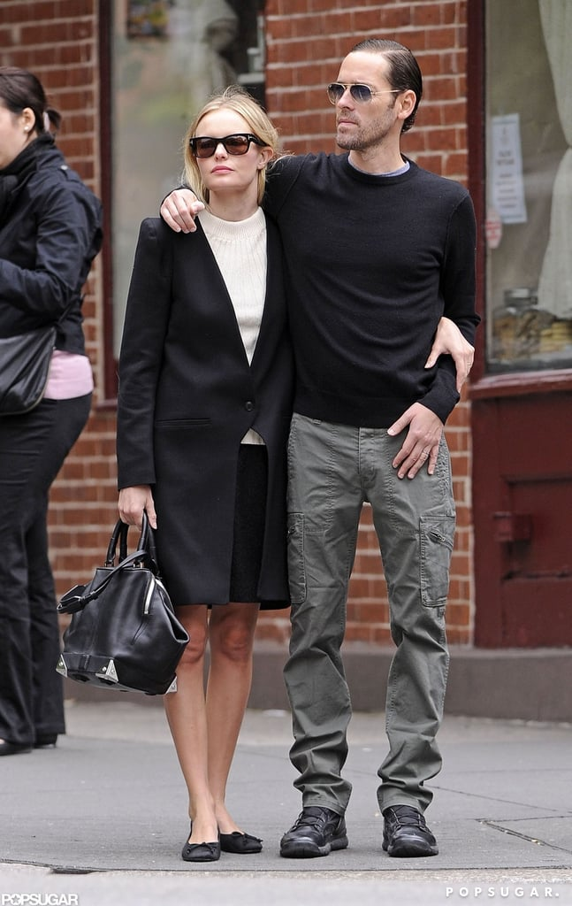Kate Bosworth and boyfriend Michael Polish embraced each other in NYC.