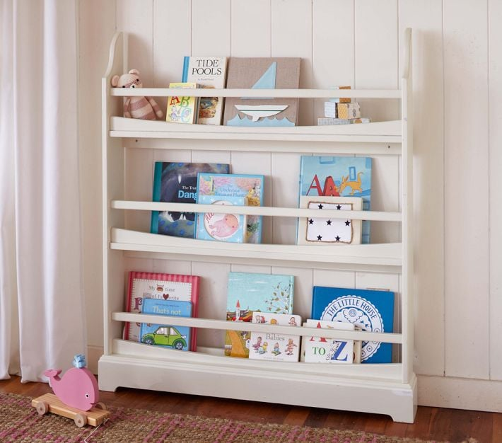 Made to hold your tot's favorite books face-forward, this Pottery Barn display-style book rack ($149) stores books and keeps them on display at the same time. Mounting hardware is included. And this bookshelf is seriously compact, making it perfect for tight spaces.