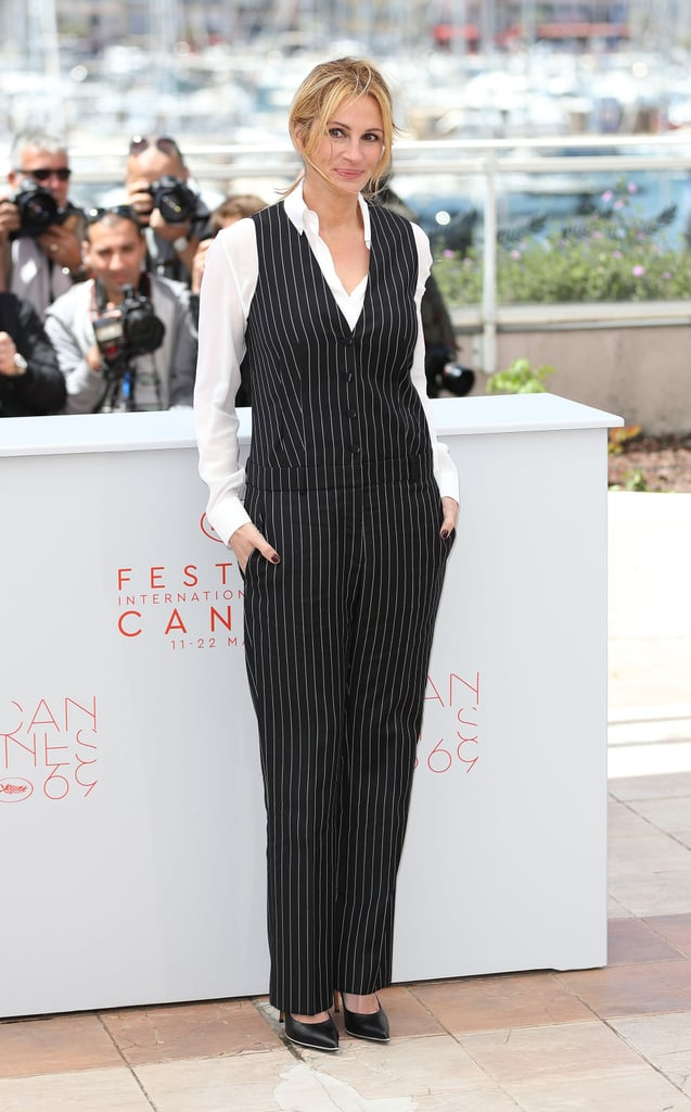 In Repossi jewels and a pinstriped Givenchy set, Julia Roberts promoted Money Monster.